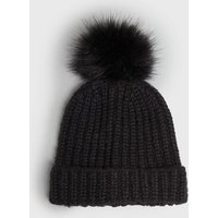 Black Ribbed Knit Faux Fur Bobble Hat New Look