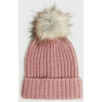Pink Ribbed Knit Faux Fur Bobble Hat New Look