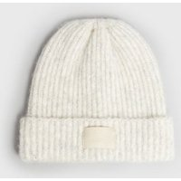 Cream Ribbed Knit Tab Front Beanie New Look