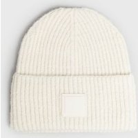 Cream Tab Front Chunky Knit Beanie New Look