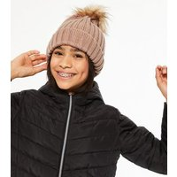 Girls Pink Ribbed Knit Faux Fur Bobble Hat New Look