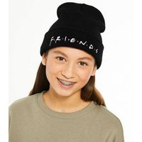 Girls Black Knit Friends Logo Beanie New Look