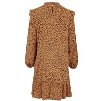 Brown Leopard Print Frill High Neck Smock Dress New Look