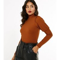 Rust Ribbed Puff Sleeve High Neck Top New Look