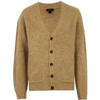 Camel Ribbed Knit Button Up Cardigan New Look