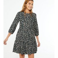 Black Leopard Print Soft Touch Smock Dress New Look