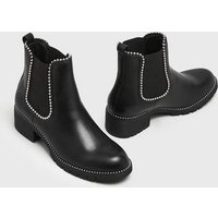 Black Stud Embellished Chelsea Boots New Look