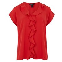 Red Ruffle Short Sleeve Blouse New Look