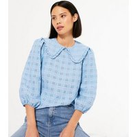 Pale Blue Check Frill Collar Blouse New Look