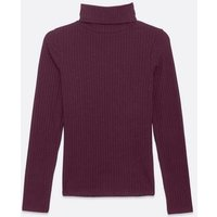 Petite Burgundy Ribbed Roll Neck Top New Look