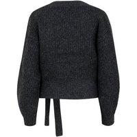 Grey Ribbed Knit Wrap Jumper New Look