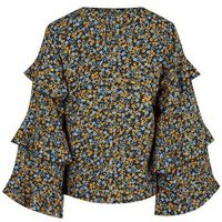 Black Floral Tiered Sleeve Blouse New Look