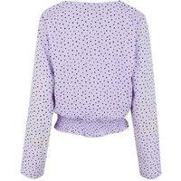 Lilac Spot Shirred Hem Wrap Blouse New Look
