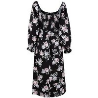 Black Floral Shirred Square Neck Midi Dress New Look