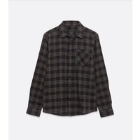 Black Check Long Sleeve Shirt New Look