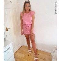 Cameo Rose Pink Shoulder Pad Mini Dress New Look