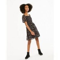 Girls Black Floral Shirred Puff Sleeve Dress New Look