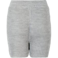 Cameo Rose Pale Grey Waffle Knit Shorts New Look