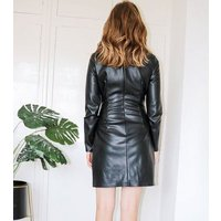 Urban Bliss Black Leather-Look Ruched Dress New Look