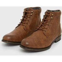 Men's Dark Brown Lace Up Military Boots New Look