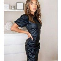 Urban Bliss Black Leather-Look Puff Sleeve Dress New Look