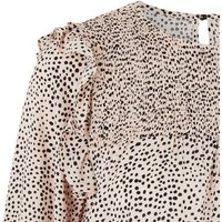 Pale Pink Spot Puff Sleeve Frill Blouse New Look
