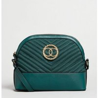 Dark Green Suedette Quilted Ring Cross Body Bag New Look