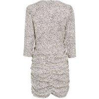 White Spot Print Ruched Mini Dress New Look