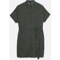 Maternity Green Animal Print Shirt Dress New Look