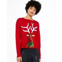 Red Sequin Reindeer Christmas Jumper New Look