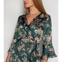 Gini London Green Floral Satin Wrap Midi Dress New Look