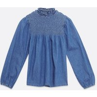 Blue Shirred Denim Top New Look