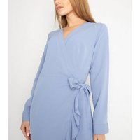 Gini London Pale Blue Ruffle Wrap Maxi Dress New Look