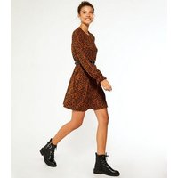 Tall Brown Floral Long Frill Sleeve Smock Dress New Look