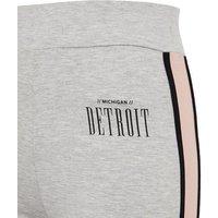 Girls Grey Marl Detroit Slogan Side Stripe Leggings New Look