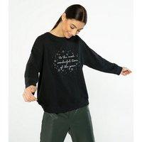 Black Wonderful Time Christmas Slogan Sweatshirt New Look