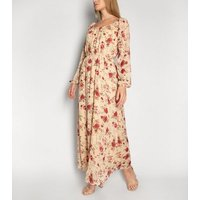 Gini London Off White Rose Print Maxi Dress New Look