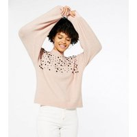 Mid Pink Scattered Bead Knit Jumper New Look
