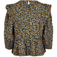 Black Ditsy Floral Puff Sleeve Peplum Blouse New Look