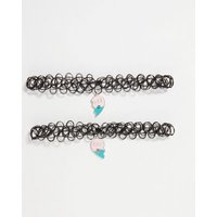 Girls 2 Pack Black BFF Tattoo Choker Necklaces New Look