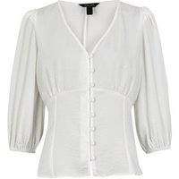 Off White Puff Sleeve Button Front Tea Blouse New Look