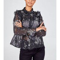 Blue Vanilla Black Spot Ruffle Blouse New Look