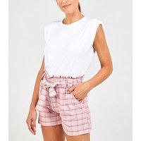 Pink Vanilla Pink Check Tie Waist Shorts New Look