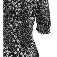Black Floral Square Neck Puff Sleeve Mini Dress New Look