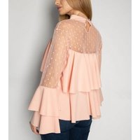JUSTYOUROUTFIT Pale Pink Spot Mesh Tiered Top New Look