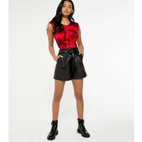 Black Leather-Look Tie Waist Shorts New Look