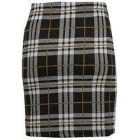 Black Check Jersey Tube Skirt New Look