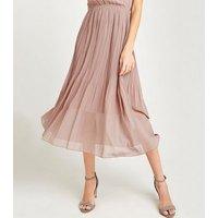 Apricot Mid Pink Chiffon Wrap Midi Dress New Look