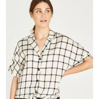 Apricot White Check Knot Front Shirt New Look
