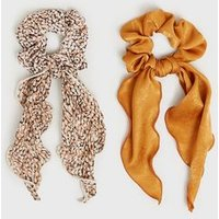 2 Pack Multicoloured Spot Print Satin Bow Scrunchies New Look